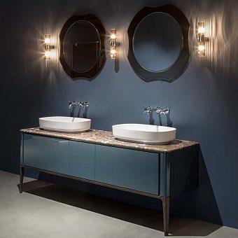 Antonio Lupi ILBagno Комплект мебели: тумба напольная с 2 раковинами 198x54см цвет: Blu navy lucido, мраморная столешница, 2 зеркала и 2 смесителя