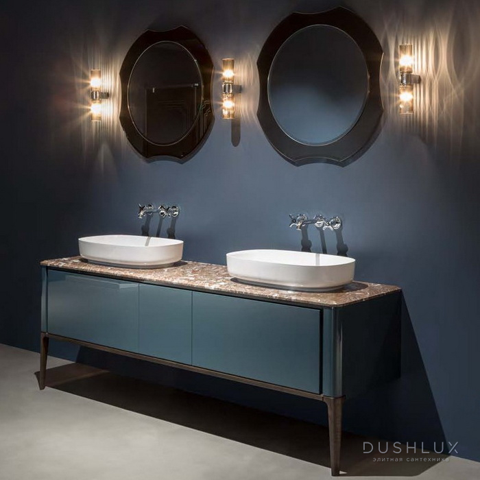 Antonio Lupi ILBagno Комплект мебели: тумба напольная с 2 раковинами 198x54см, цвет: Blu navy lucido