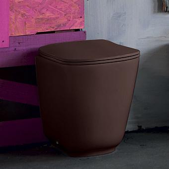 Kerasan Tribeca Унитаз напольный пристенный 54х35см, безободковый, c креплением WB5N, цвет: Borgogna matt