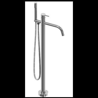 CISAL Xion Смеситель напольный однорычажный для ванны с ручной лейкой, держателем, шлангом 1,5 м, цвет нержавеющая сталь