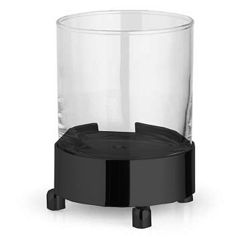 Bertocci Cinquecento Стакан настольный, цвет: прозрачное стекло/черный матовый