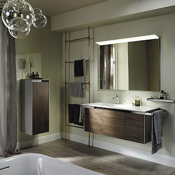 Burgbad Yso Комплект подвесной мебели 128x49x45 см, с прямоугольным  керамической раковиной слева, с  2-мя полотенцедержателями, цвет: светло-серый глянцевый/коньячный орех