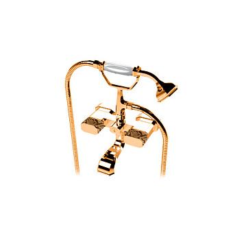Petracers Divino Ultra, Напольный комплект кранов для ванны, отделка ручек: кожа питона, цвет: бронза