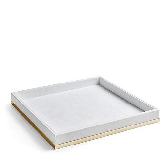 3SC Snowy Лоток универсальный 28х28хh4см, цвет: белая эко-кожа/золото 24к. Lucido