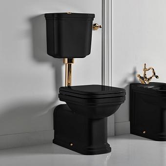 Kerasan Waldorf Унитаз напольный удлиненный 65х37см c низким бачком, трубой, цвет: черный/золото, СИДЕНЬЕ НА ВЫБОР