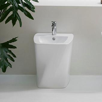 Azzurra Hera Биде напольное приставное 57х38х42 см,  покрытие Easy-Clean, с 1 отв под смеситель, с крепежами, цвет белый