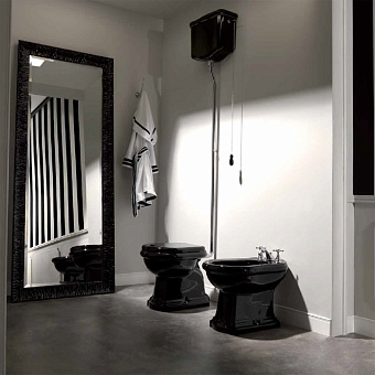 KERASAN Retro Унитаз напольный слив в стену, цвет черный глянцевый с верхним бачком, с фурнитурой цвета хром