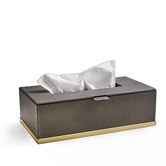 3SC Milano Контейнер для бумажных салфеток, 25х13хh8 см, прямоугольный, настольный, цвет: коричневая эко-кожа/золото 24к. Lucido