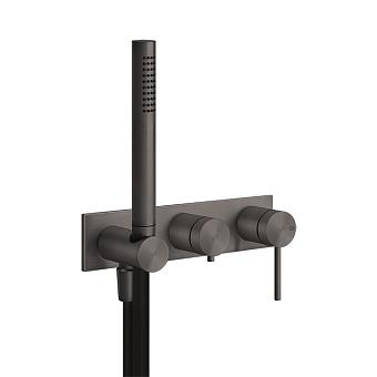 Gessi 316 Встраиваемый смеситель для ванны, автомат переключатель ванна-душ, держатель неподвижный, цвет: brushed black metal pvd