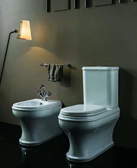AZZURRA CHARME Унитаз моноблок 68х40см, слив универсальный,с бачком и белым сиденьем с микролифтом, цвет: белый/хром