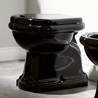 KERASAN Retro Унитаз напольный приставной слив в пол, цвет черный глянцевый