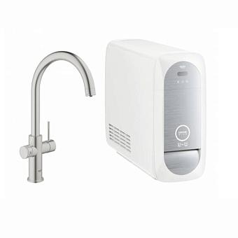 Grohe Blue Home Смеситель для кухни с фильтрацией, охлаждением и газированием воды, цвет: сталь