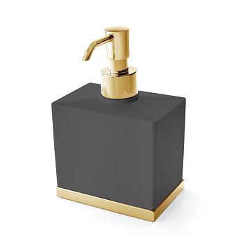 3SC Mood Deluxe Black Дозатор настольный, композит Solid Surface, цвет: чёрный матовый/золото 24к.