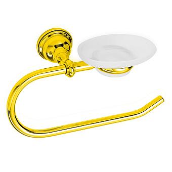 StilHaus Elite Полотенцедержатель + мыльница стеклянная, подвесной монтаж, цвет: золото
