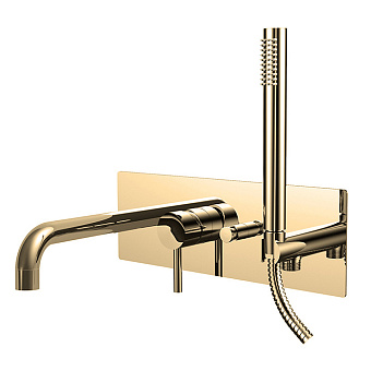 Paffoni Light Смеситель для ванны, встраиваемый, с переключателем на 2 потока, цвет: медовое золото