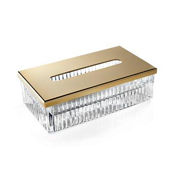 3SC ELEGANCE Контейнер для бумажных салфеток,  23х12,5хh12 см, прямоугольный, настольный, цвет: прозрачный хрусталь/золото 24к.