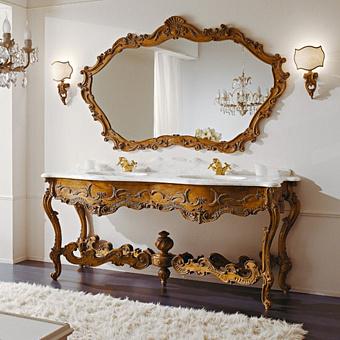 Mobili Di Castello Gorgona Комплект мебели 83х195х65 см: напольная тумба, мраморная столешница, резное зеркало, 2 раковины, бра, мрамор Bianco Arabescato/декор Gorgona