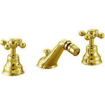 CISAL Arcana Ceramic Смеситель для биде на 3 отверстия с донным клапаном, цвет золото