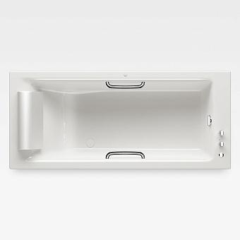 Armani Roca Island Встраиваемая ванна 180х80см термостат руч. душ, Hide-Flow, ручки, мягкий подголовник, цвет: glossy white/хром
