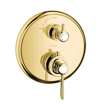 Axor Montreux Термостат с запорным вентилем, СМ, с рычаговой рукояткой, цвет: полированное золото