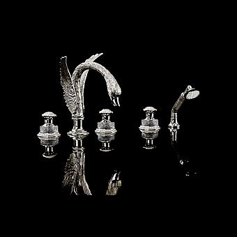 Devon&Devon Excelsior Swan Смеситель для ванны на пять отверстий, цвет: блестящий никель