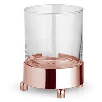 Bertocci Cinquecento Стакан настольный, цвет: прозрачное стекло/розовое золото