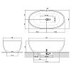 Antonio Lupi Reflex Ванна отдельностоящая 167х86х53см, с донным клапаном (graphit), сифоном и гибким шлангом, Cristalmood, цвет: Nebbia