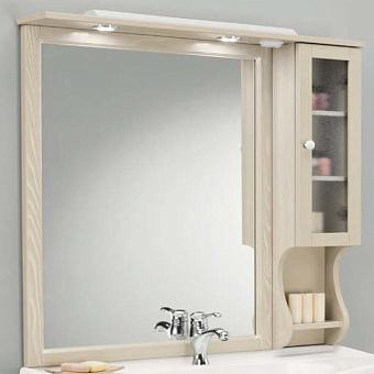 EBAN Arianna/Eleonora/Federica Зеркало в раме со шкафчиком левым без ручек SX 102х104см, цвет: pergamon
