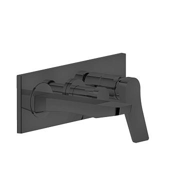 Gessi Rilievo Встраиваемый смеситель для ванной на 2 источника, с изливом 169мм и переключателем, цвет: nero XL