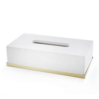 3SC Mood Deluxe Контейнер для бумажных салфеток, 24х7х13 см, прямоугольный, настольный, композит Solid Surface, цвет: белый матовый/золото 24к. Lucido
