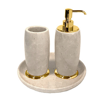 3SC Elegance Коплект: стакан, дозатор, лоток, цвет: мрамор botticino/золото 24к. Lucido