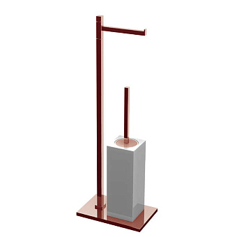 Bertocci Settecento Напольная стойка с ершиком и бумагодержателем, цвет: белый матовый композит/розовое золото