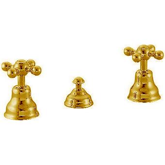 CISAL Arcana Ceramic Смеситель для биде на 3 отверстия без излива, с донным клапаном, цвет золото