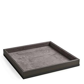 3SC Milano Лоток универсальный 28х28хh4см, цвет: коричневая эко-кожа/черный матовый