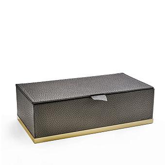 3SC Milano Коробочка универсальная, 25х13хh8см, с крышкой, настольная, цвет: коричневая эко-кожа/золото 24к. Lucido