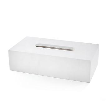 3SC Mood White Контейнер для бумажных салфеток, 24х7х13 см, прямоугольный, настольный, композит Solid Surface, цвет: белый матовый