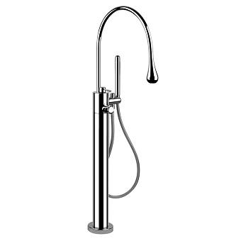 Gessi Goccia Напольный термостатический смеситель для ванны с ручным душем (внешняя часть), цвет: хром