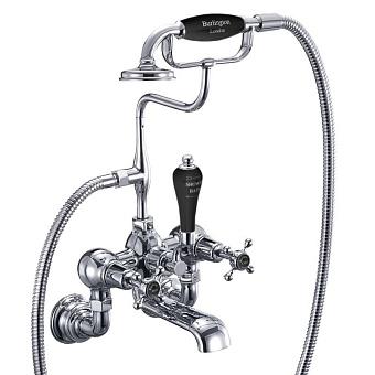 Burlington Claremont Смеситель настенный для ванны с ручным душем, 1/4 оборота,150 мм, на основании Regent, цвет Хром/Черный