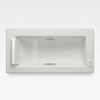 Armani Roca Island Встраиваемая ванна 214.5х110см а/мас. хромотер. термостат руч. душ, Hide-Flow, ручки, мягкий подголовник, цвет: off-white/хром