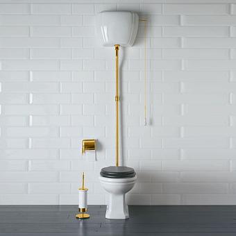 GLOBO Paestum Унитаз напольный 58*37,5см, слив в пол, с высоким бачком, трубойцвет золото