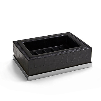 3SC Cocco Мыльница настольная, отделка: черная кожа, цвет: хром
