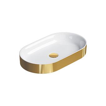 Catalano Horizon Раковина накладная 60х30хh:8.5см., без перелива, цвет: золото/белый