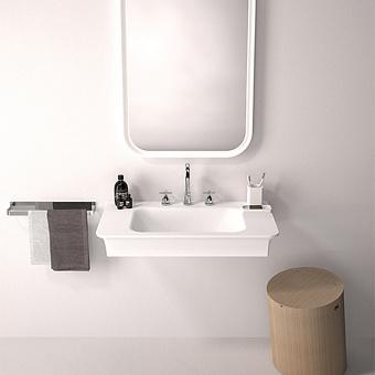 Agape Novecento XL Раковина подвесная 90x55x13 см, 3 отв., цвет: матовый белый