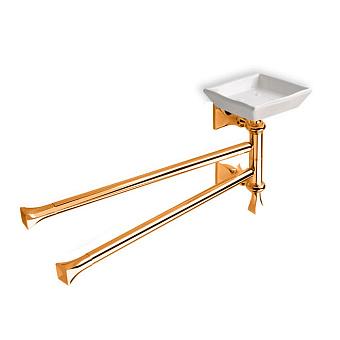 StilHaus Prisma Полотенцедержатель двойной + мыльница, подвесной монтаж, цвет: бронза/белая керамика