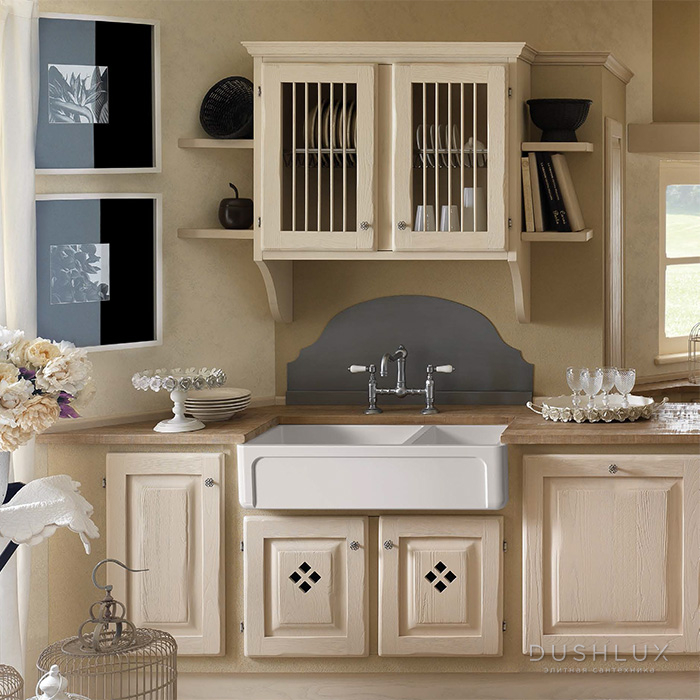 Kerasan Hannah Oxfordshire Раковина кухонная 1003x470x254 мм, без отв под смеситель, цвет: белый