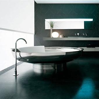 Agape Ufo Ванна отдельностоящая d204x50 см, круглая, 1 спинка, цвет: нерж. сталь
