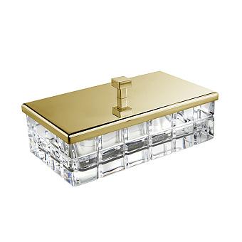 3SC Palace Коробочка универсальная, 23х12,5хh10см, с крышкой, настольная, цвет: Rosa хрусталь/золото 24к. Lucido