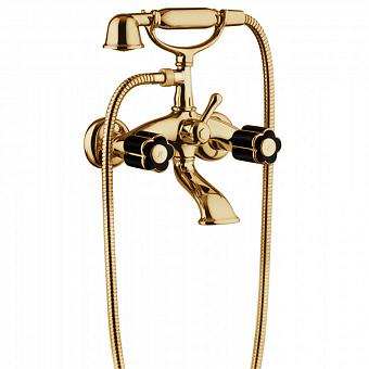 Bongio Fleur Noir Смеситель для ванны, цвет: золото/черный фарфор