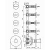"Zucchetti IsyFresh Термостатический смеситель, для скрытого монтажа 1/2"", 4 ручки, цвет: хром"
