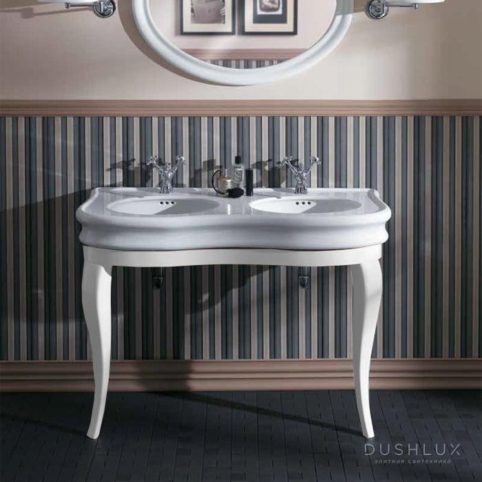 SIMAS Lante Комплект мебели, консоль 111х50.4см, с двойной раковиной на 2 отв., зеркало овальное, цвет: bianco